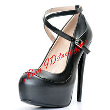 All US SIZE Womens Sexy PU Leather Ankle Strap High Heels Pumps Platform Shoes