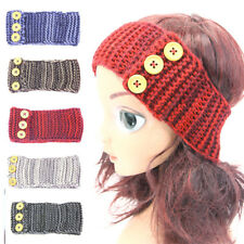 Baby Girls Kids Winter Knitted Crochet Buttons Stretchy Headband Hair Band TOS88