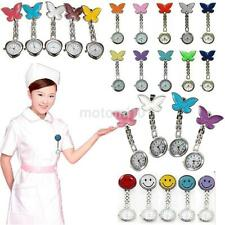 Pretty Butterfly Nurse Clip-on Fob Brooch Pendant Hanging Pocket Watch Fobwatch