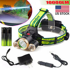 10000LM 3X XML T6 2R5 LED Headlight Headlamp Flashlight 18650 Torch Light Lamp