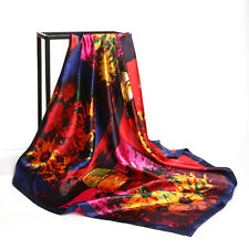 """Women's Vintage Painting Patchwork Vases Printed Satin Square Head Scarf 35""""*35"""""""