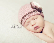 Hand Knitted Crochet Baby Girl Hat Flower Pearl Photo Prop Pink Prem/Newborn 12M