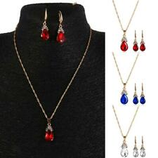 Elegant Women Gold Plated Jewelry Set Bridal Wedding Crystal Necklace Earrings
