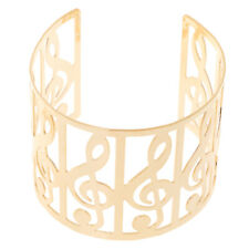 Ladies Chic Partywear Musical Notes Theme Open Wide Bangle Cuff Bracelet Jewelry