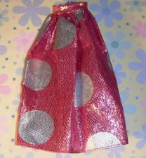 Barbie Doll Pink and Silver Sparkle Polka Dotted Skirt Clothes Vintage RARE