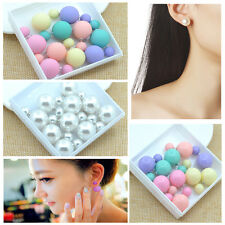 5 Pairs Earring Matte Ball Candy Color Double Side Pearl Stud Earrings For Lady