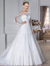Lace Long Sleeve A Line Wedding Dress Off The Shoulder Church Bridal Gowns HD129