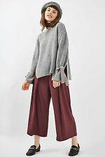 TOPSHOP PETITE Cropped Wide Leg Trousers in Berry Red Size 4 to 14