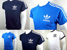 Adidas ess crew neck retro classic t shirt  black white blue small to 2 xlarge
