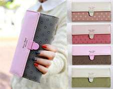 new Womens Leather Plum Wallet Card Holder Purse Mobile Bag Clutch Handbag W