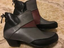 "NEW! AETREX WOMEN'S ""SAMANTHA"" COLORBLOCK MULTI LEATHER ANKLE BOOTS"