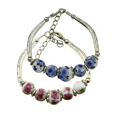 Retro Women Girl Ceramic Bracelet Beads Flower Porcelain Alloy Carving Red Blue