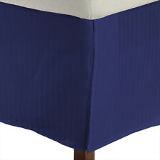 Luxury 1 Qty Bed Skirt 1000 TC Egyptian Cotton Egyptian Blue Stripe Drop 15 Inch
