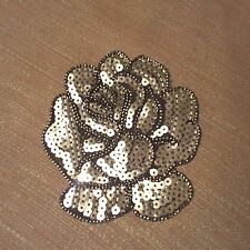 Silver Rose Sequins Flower Embroidered Patch Skirt Dress Jeans Iron-on Applique