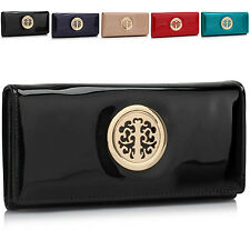 Trifold Faux Patent Leather Women Purse Designer Ladies Girl Wallet Coin Cards