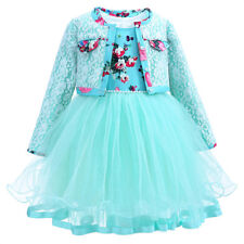 Girls Flower Tulle Dress + Lace Coat Cardigan Set Princess Wedding Party Pageant