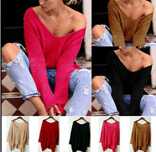 Fashion Autumn Women Ladies V neck Loose Long Sleeve Sweater Top Blouse Knit Top