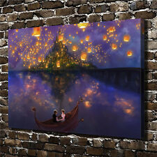 Canvas HD Picture Print Art Painting Tangled Lake Sky Lanterns 24''X32''