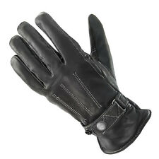 Xelement Women's Classic Button Snap Black Leather Motorcycle Gloves