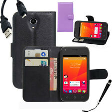 HQ Wallet Money Card Leather Case Cover for Telstra 4GX Smart / ZTE A112 +Stylus