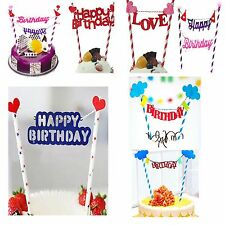 Bunting Style Happy Birthday Cake Topper Decoration for Birthday Party UK