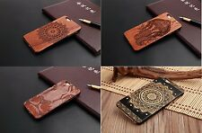 Hybrid Natural Carved Wood Wooden Bamboo Hard PC Case Cover For iPhone 5 6 7 7+