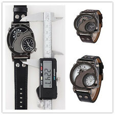 OULM Russian Army Military Dual Time Movement Mens Leather Quartz Wrist Watch