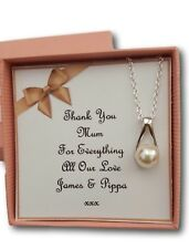 THANK YOU GIFT PEARL NECKLACE WEDDING BRIDESMAID MOTHER GROOM  BRIDE PRESENT