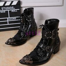Metal Toe Buckle Lace Up New Men Punk High Top Ankle Boot Motor Rock Pointy Shoe