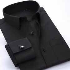 Mens Long-sleeved Non-iron Cufflinks Solid Color Business Dress Shirt 9 Colors