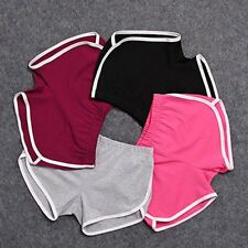 Women's Solid Sports Yoga Gym Fit Shorts Workout Skinny Elastic Waist Hot Pants