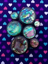 Horn & Abalone Shell Organic Plugs Gauges- 6mm - 25mm (Sold as a Pair)