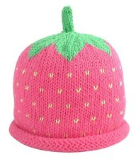 MERRY BERRIES Baby Girls Pink Raspberry Hand Knitted 100% Cotton Hat - BNWT NEW