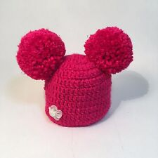 CROCHET KNITTED POM POM HAT ALL MONTHS BABY BRIGHT PINK Photo Photography Prop