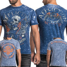 Affliction Wild Wing A13415 Skull Motorcycle Mens REVERSIBLE T-Shirt Blue White