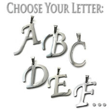 "316 L Stainless Steel Alphabet Letter Pendant With 24"" Ball Chain - Pick Yours!"
