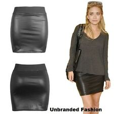 Womens Ladies Black Wetlook Leather Look elasticated waist tube mini skirt 8-26