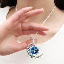 Gift A Set Pendant Necklace Earring Set Jewelry Moon Shaped Life Tree Glass