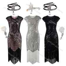 Long 1920s Vintage Flapper Beaded Gatsby Wedding Party Evening Prom Dress 6-18