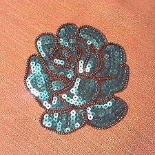Blue Rose Sequins Flower Embroidered Patch Skirt Dress Jeans Iron-on Applique