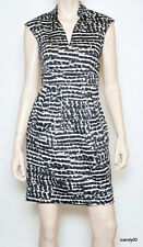 Calvin Klein Cap Sleeve Dress Stretch Cotton Pleated Black/White 4/8 New