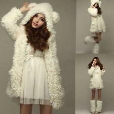 Womens Winter Fleece Bear Hooded Fluffy Wool Parka Coat Jacket Cardigan Outwear