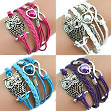 Cute Infinity Owl Heart Pearl Leather Charms Multilayer Bracelet Gift Natural
