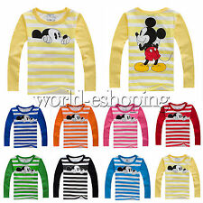 Kids Baby Boys Girls Mickey Mouse Long Sleeve T-Shirt Cartoon Striped Blouse Top