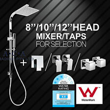 ACA Square 8/10/12'' Shower Head Rose Handheld Sliding Rail Mixer / Taps Set