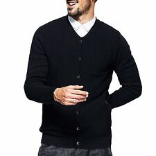 Men Button Front Long Sleeve V-neck Solid Black Casual Sweater Classic Cardigan