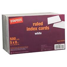 "Staples 5"" x 8"" Line Ruled White Index Cards, 500/Pack"