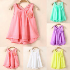 1-5Y Baby Kids Girls Princess Party Tutu Dress Chiffon Flower Summer Dress Cute