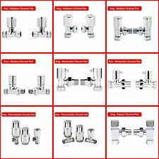 "15mm ½""Chrome Straight & Angled Designer Radiator Towel Rail Valves Thermostatic"