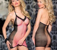 Sexy Sleepwear Lingerie Pink Rave Babydoll Fishnet Mini Dress Dancewear Pubbing